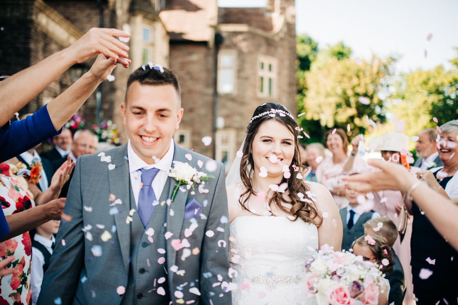 confetti shot at Kent wedding