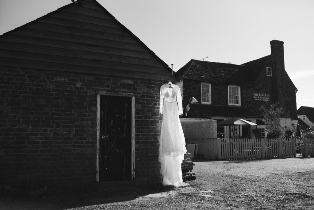 Wedding Dress Hanging at the Bull Inn