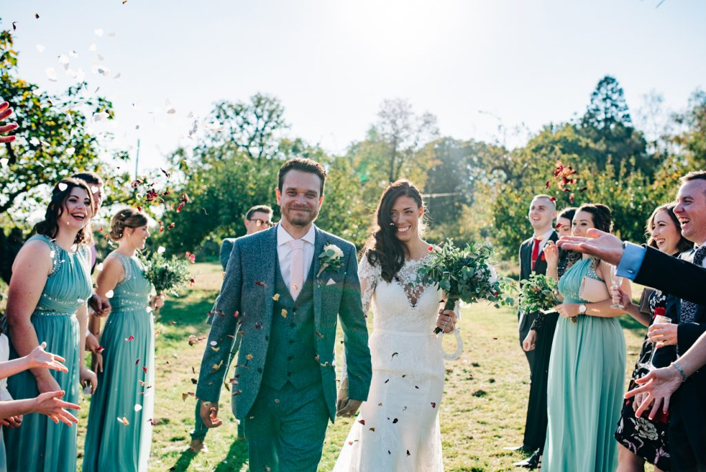 Confetti wedding photograph