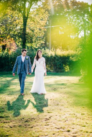 Bride and groom portraits in late summer