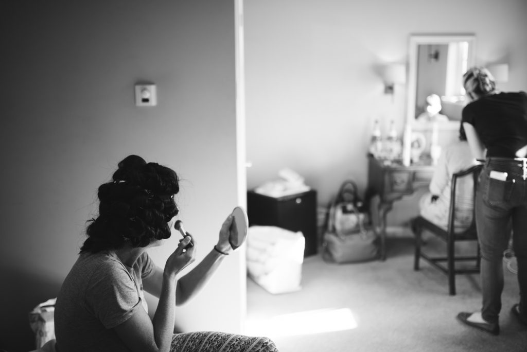 Bride getting ready at Bull Inn Lodges in Rolvenden