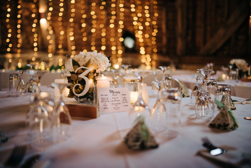 Menu place card at the Great Barn Rolvenden