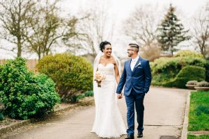 portrait walk after the ceremony at hadlow manor