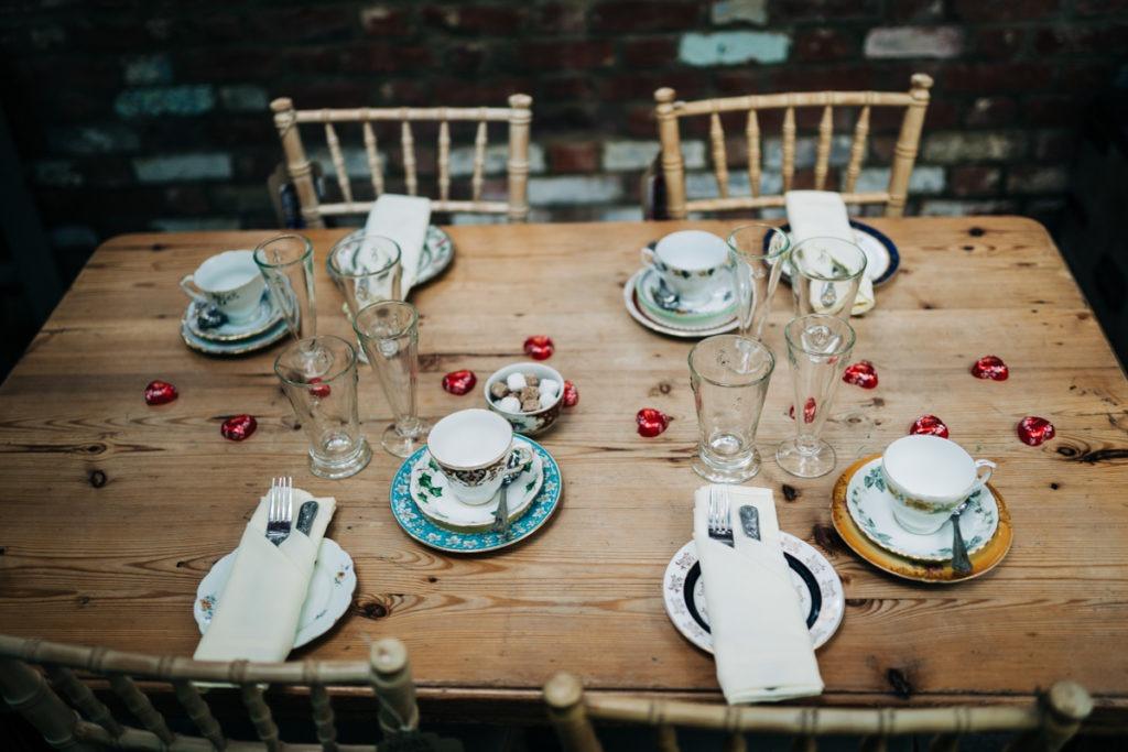 Table setting at Secret Garden Tea rooms