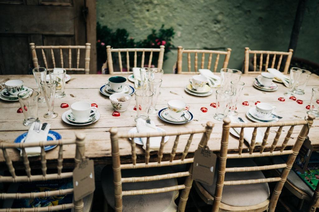 table settings at the secret garden in ashford