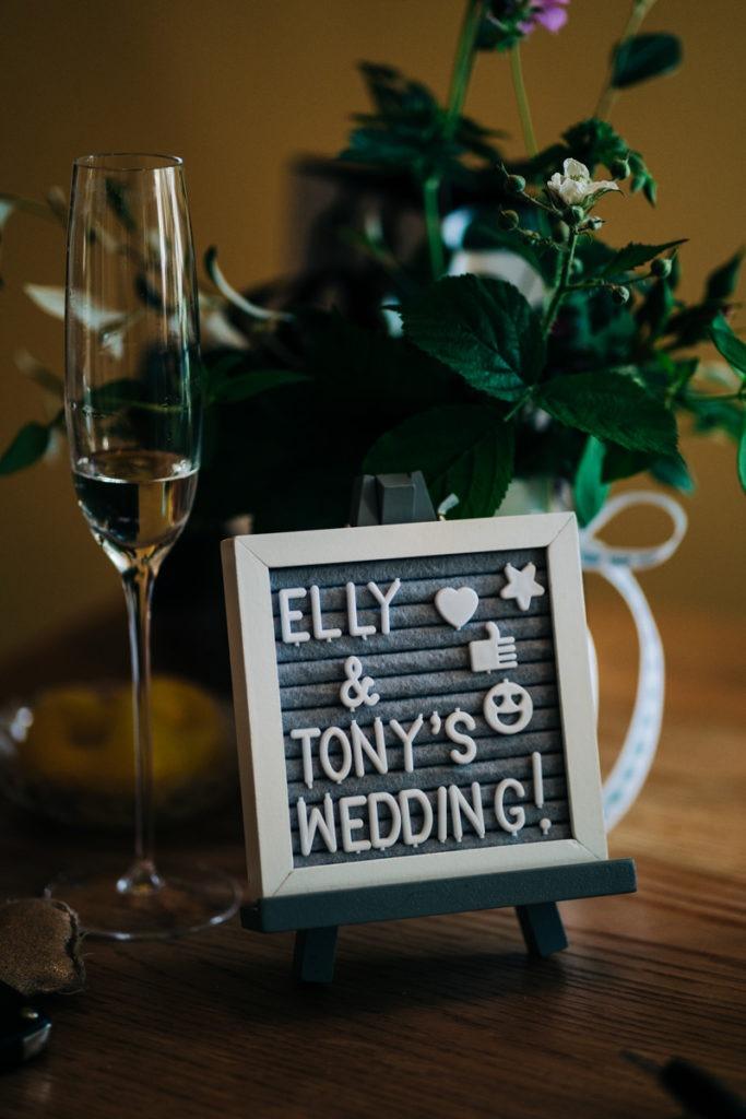 wedding day sign for bridal prep