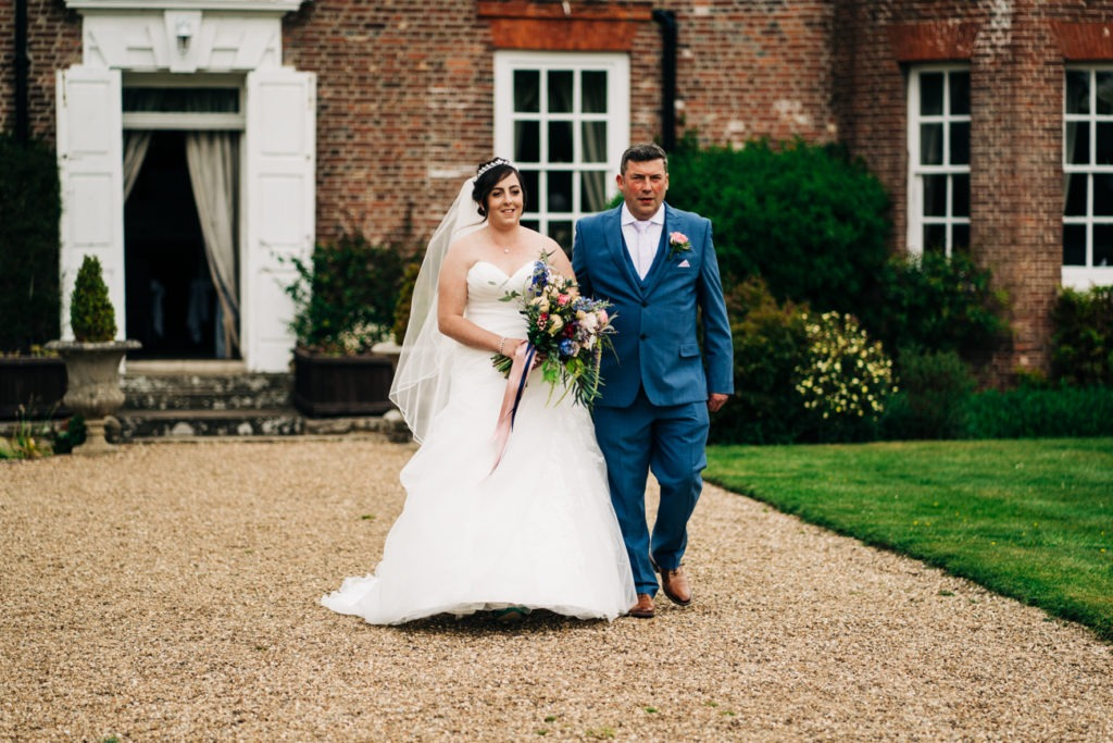 bride and father at chilston park