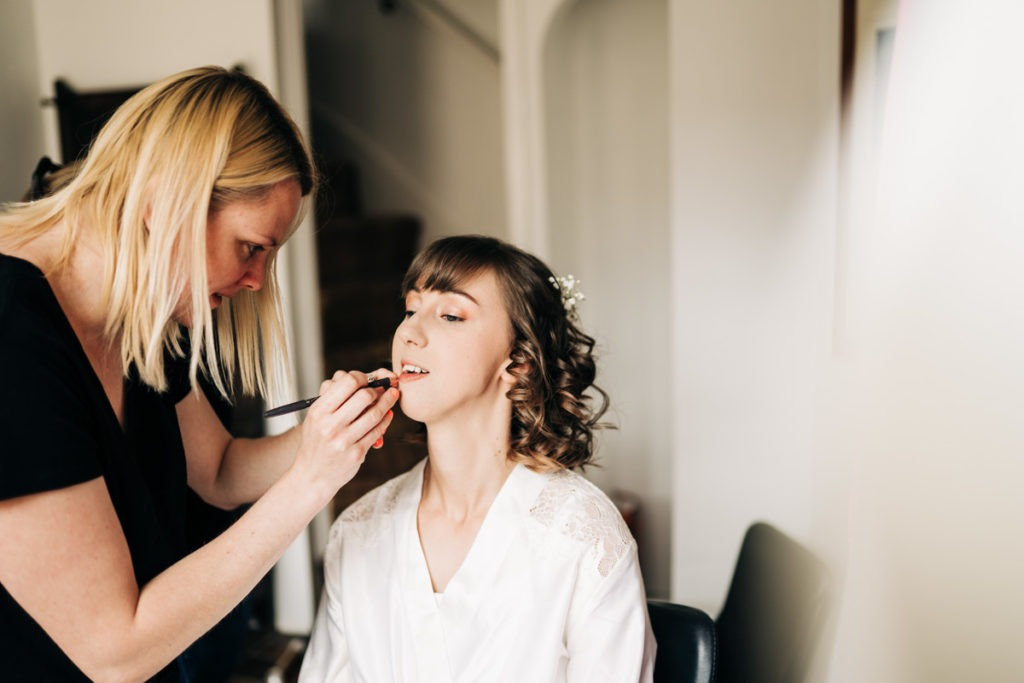 Bride getting ready for kent wedding