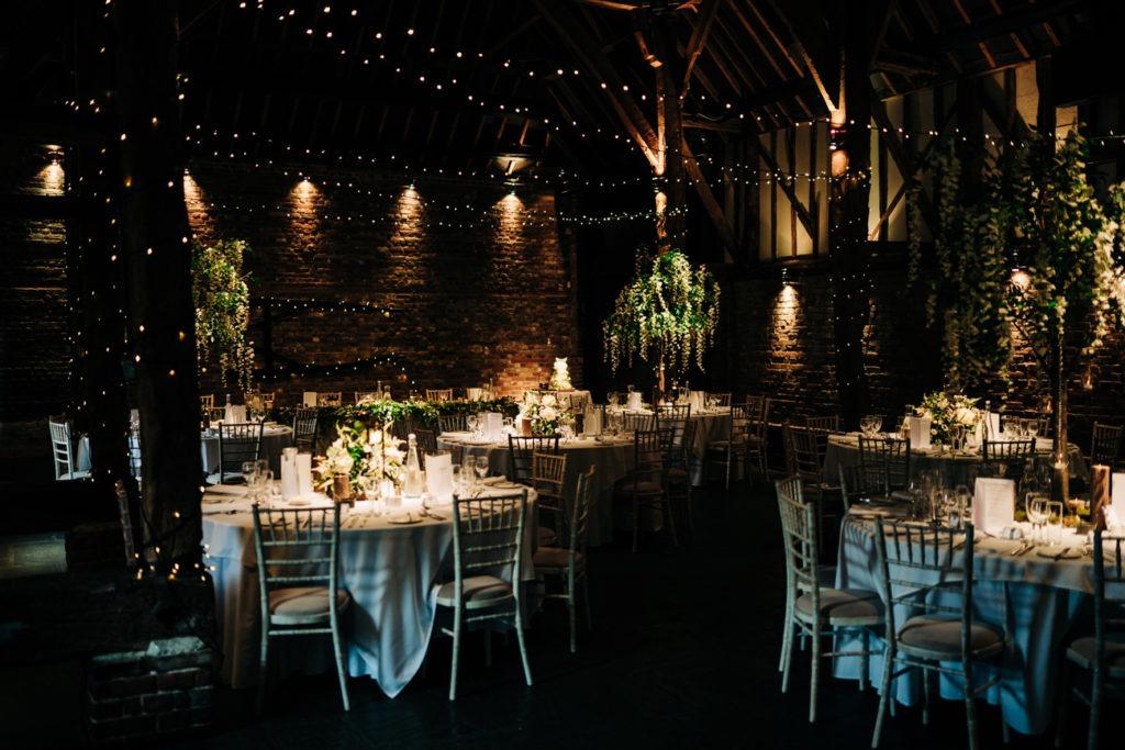 barn setup at Cooling Castle Barn wedding 2019