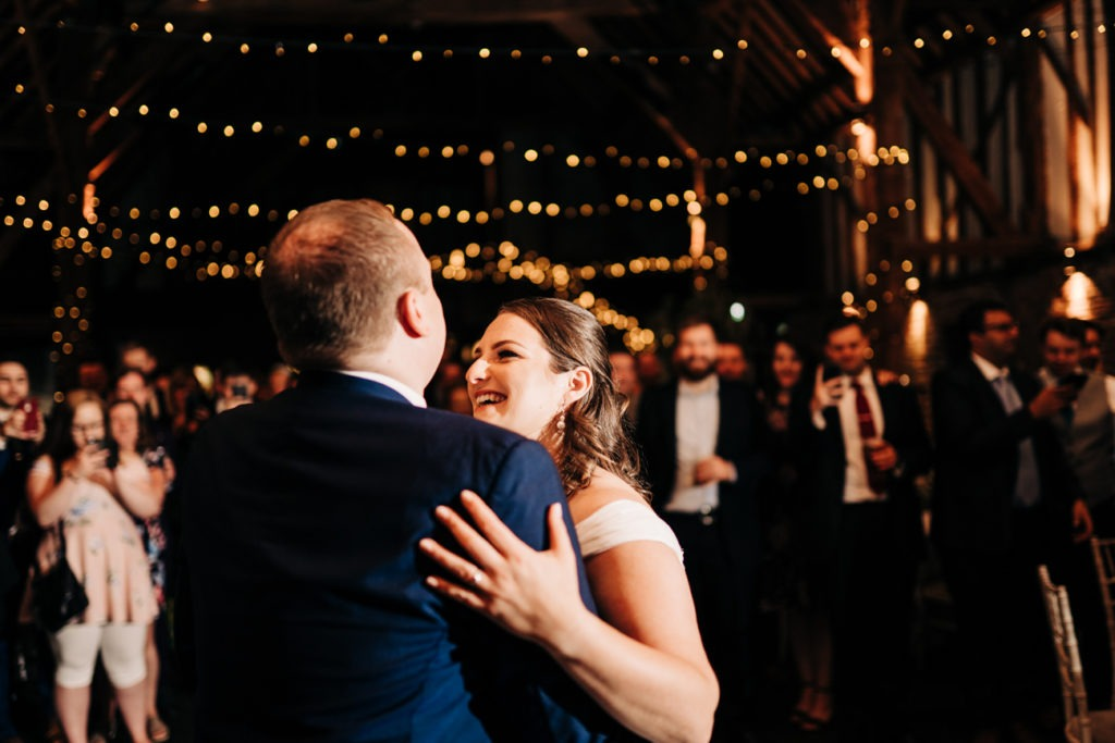 first dance at cooling castle barn wedding day