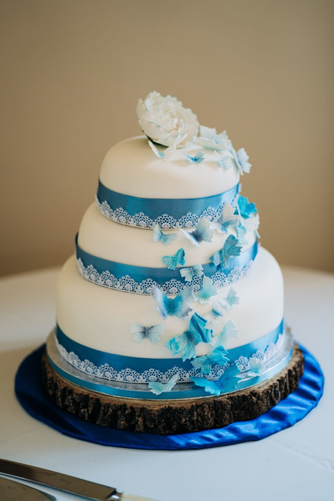 blue wedding cake havenfield hall