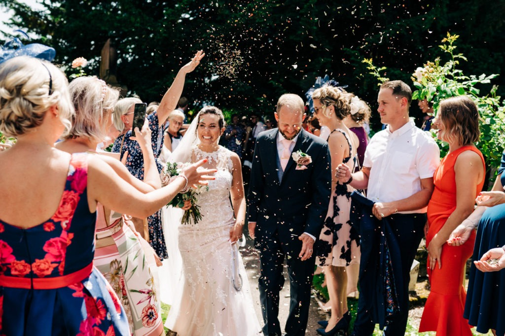 confetti shot at Boughton Monchelsea church