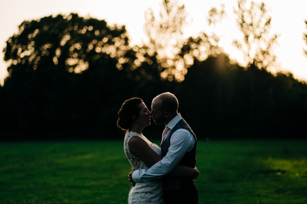 golden hour at Aylesford priory wedding