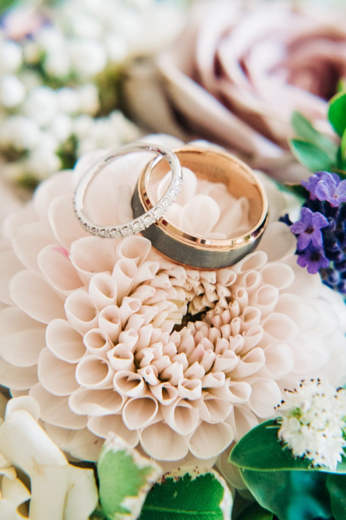 wedding ring shot on flowers