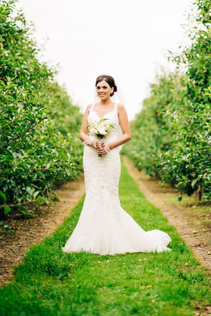 Bridal portrait at The Barnyard Upchurch orchards