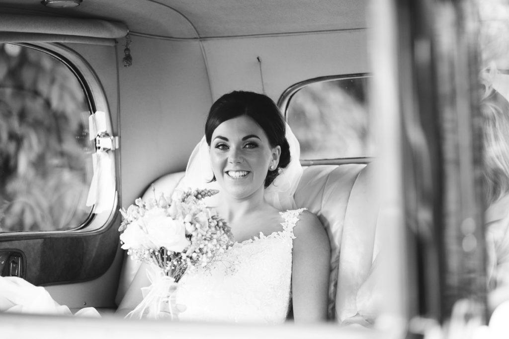 bride arrives at The Barnyard Upchurch
