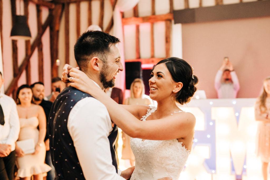first dance at barnyards twilight wedding ceremony
