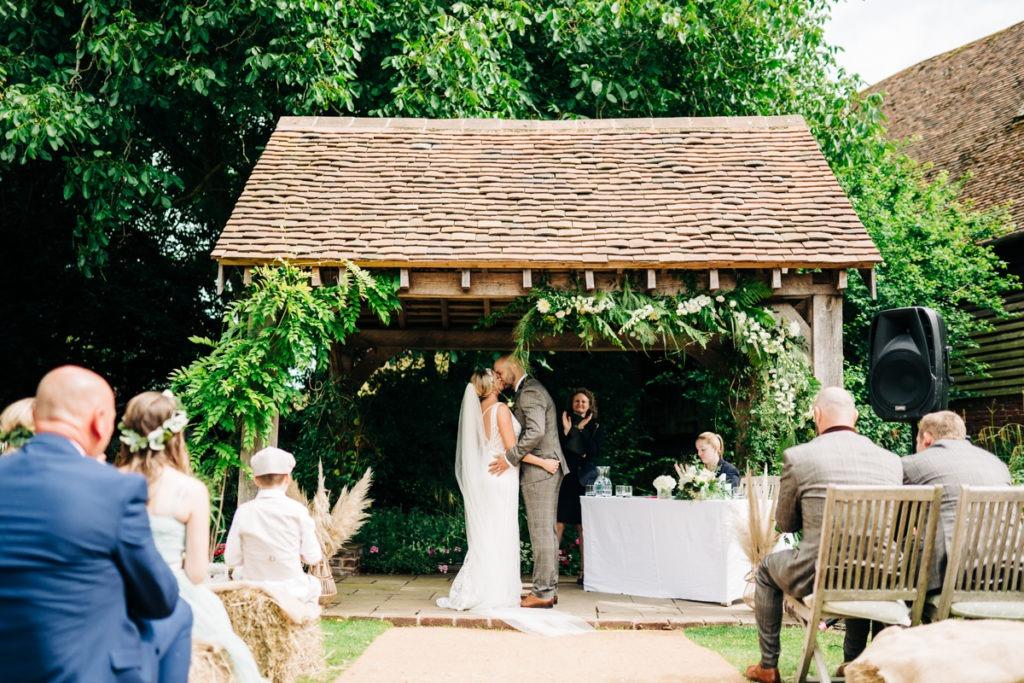 bride and groom ceremony area Brenley Farm