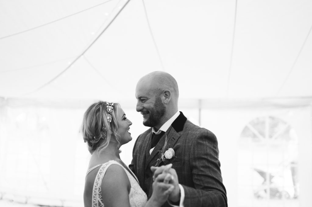 bride and groom first dance at Brenley Farm wedding