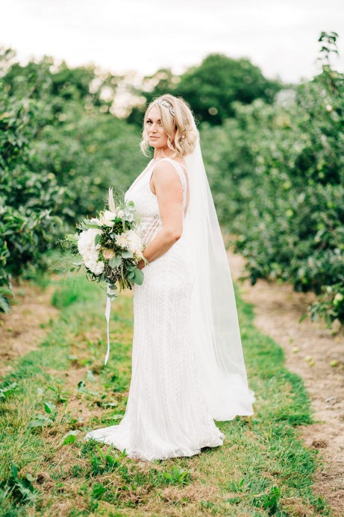 bridal portrait at Brenley Farm Faversham
