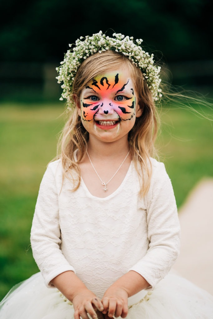 face painting at Brenley Farm wedding