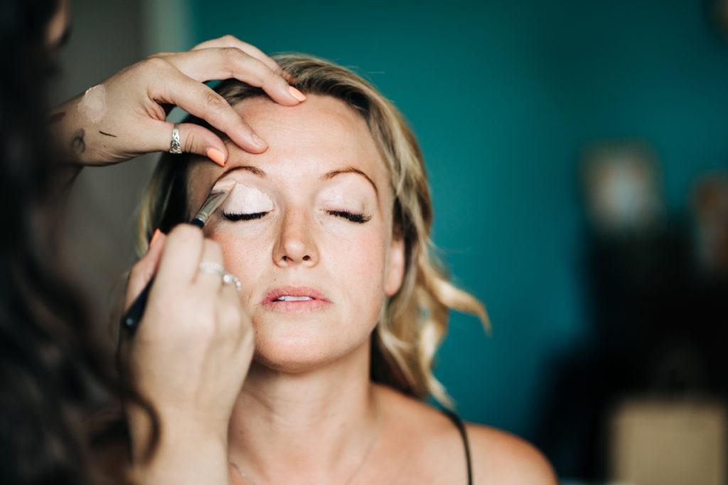 close up of bridal makeup at Brenley Farm