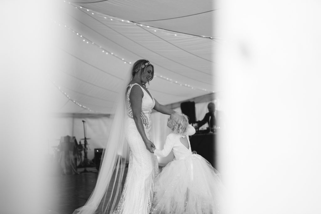 bride and daughter at Brenley Farm