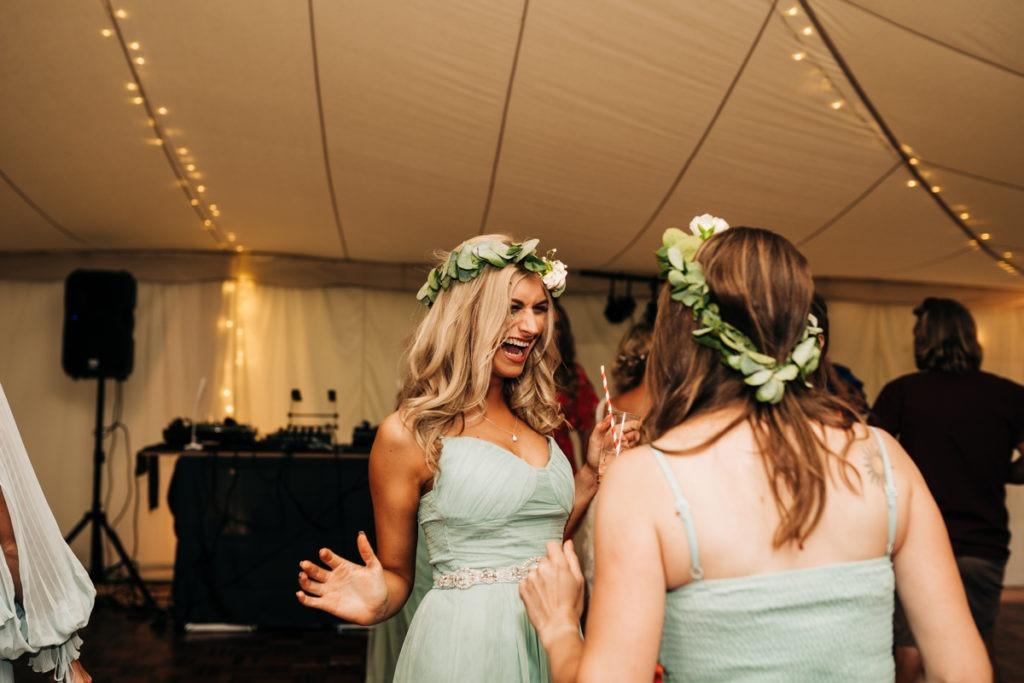 bridesmaids dancing at Burnley Farm B&B