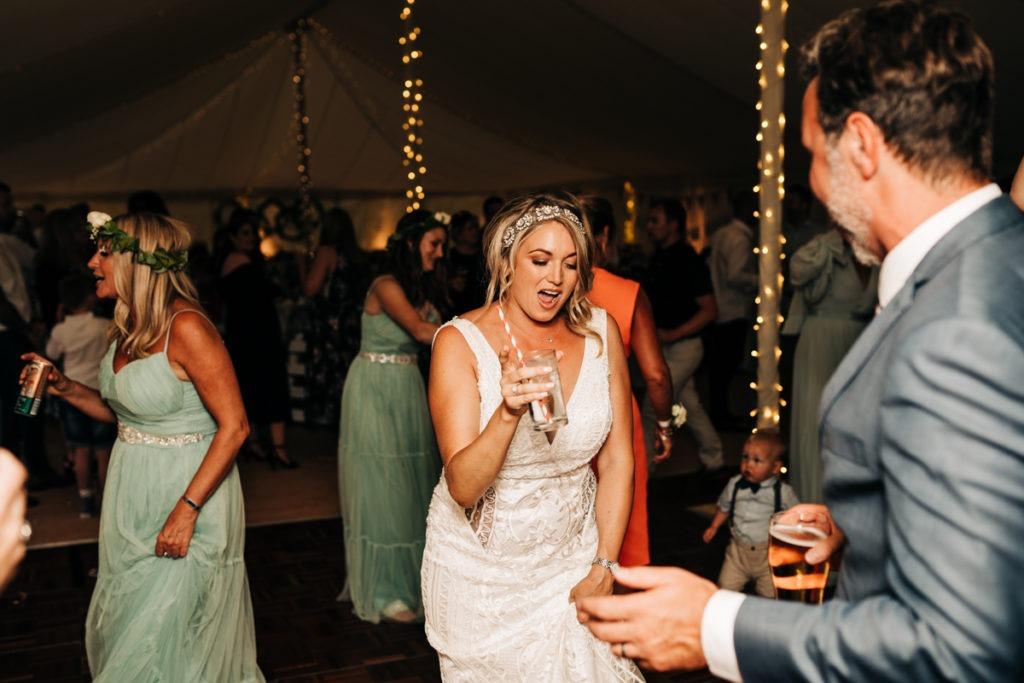 bride dancing at Brenley Farm