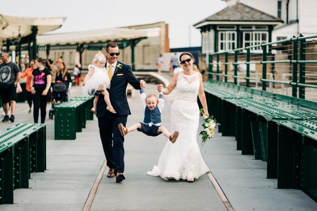 family portrait across folkestone harbour wedding