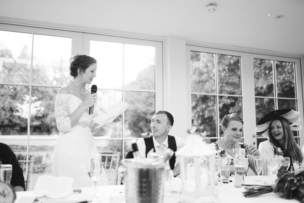 bride speech at Hayne House kent wedding venue
