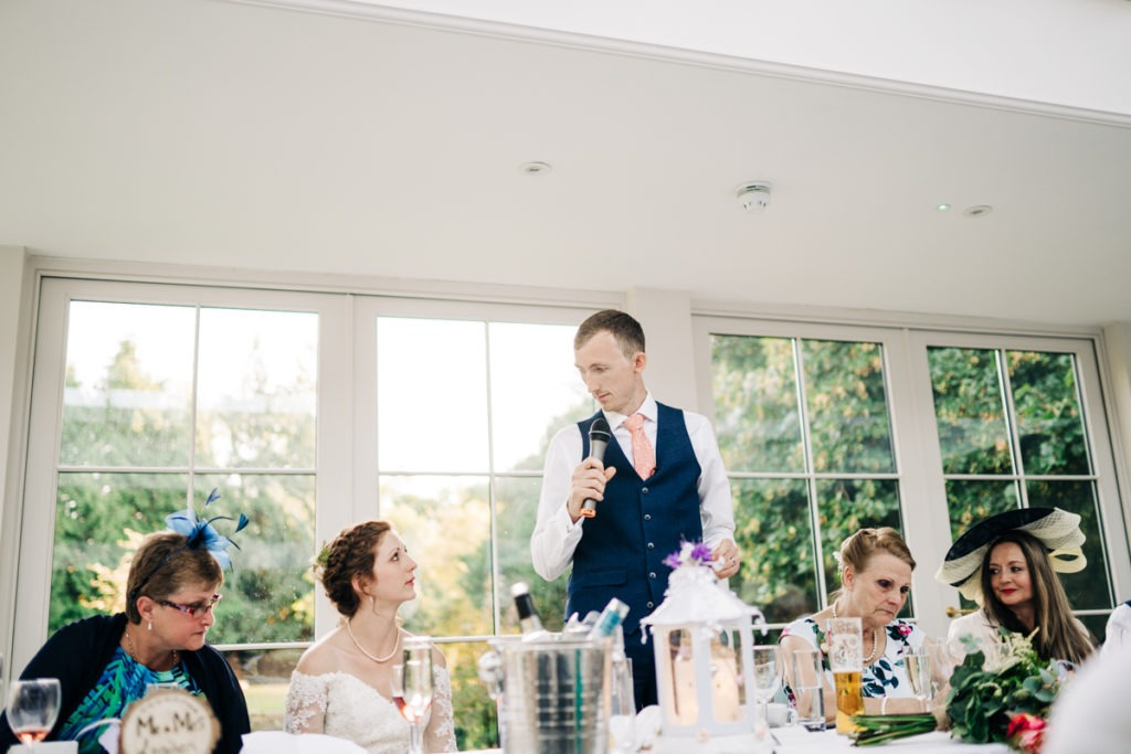 Groom speech at Hayne House