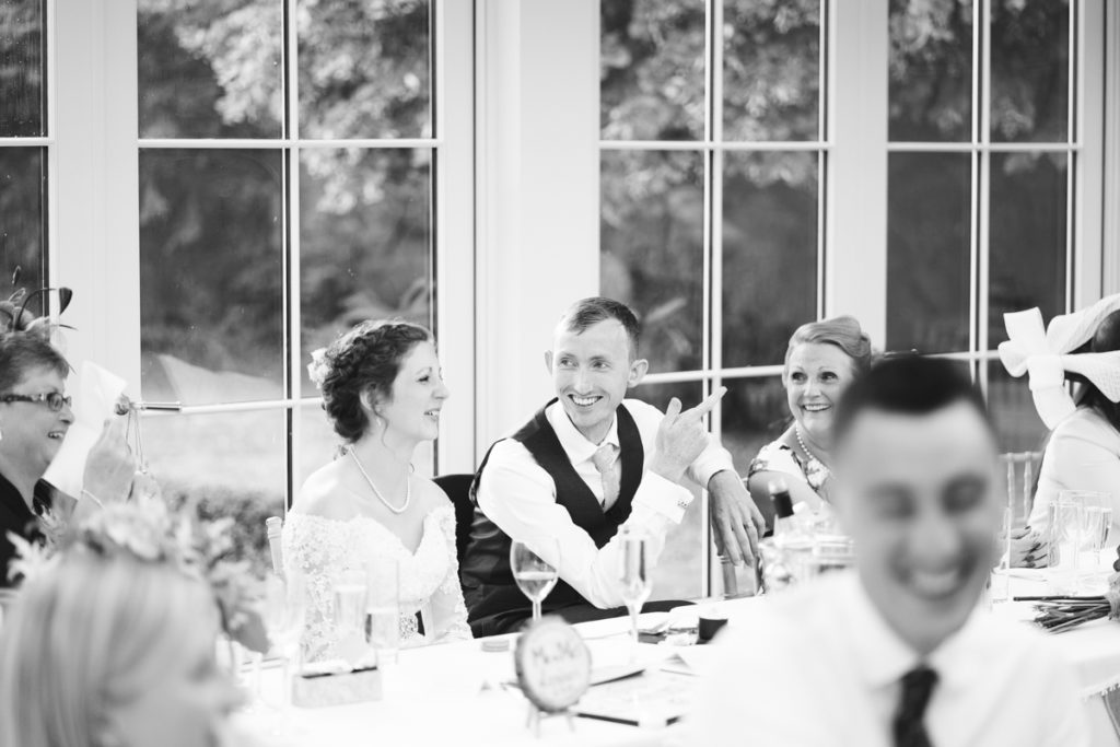 Groom during speeches at Hayne House