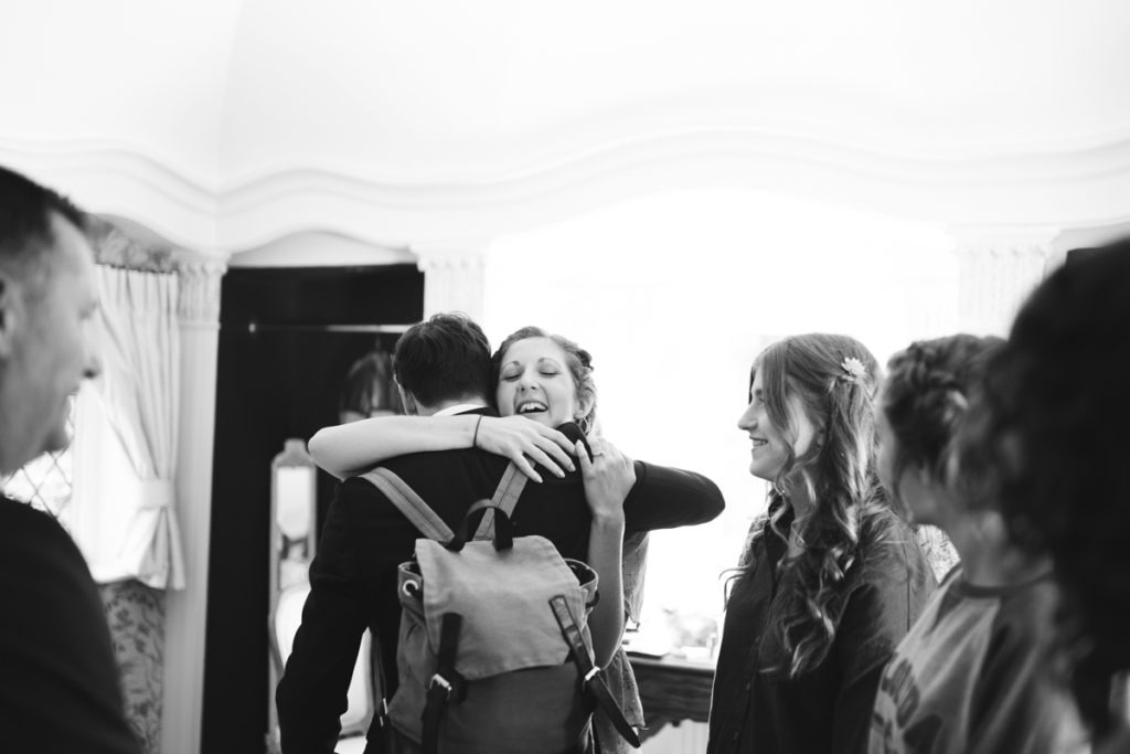 bridal preparation hug