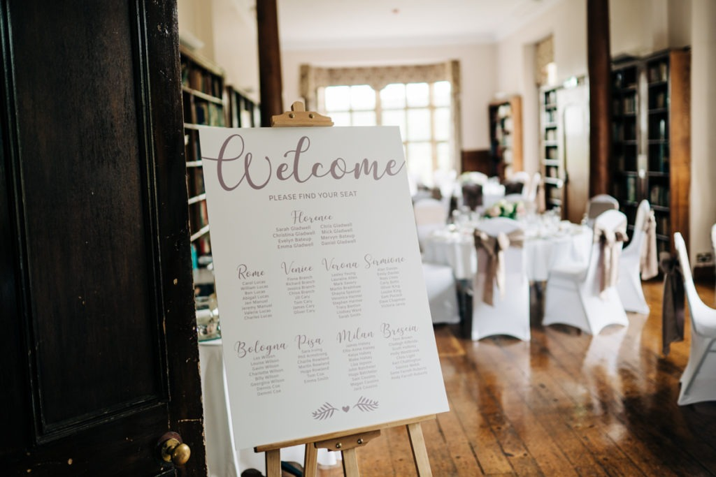 schools at Somerhill wedding table plan