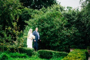 bride and father at secret garden kent