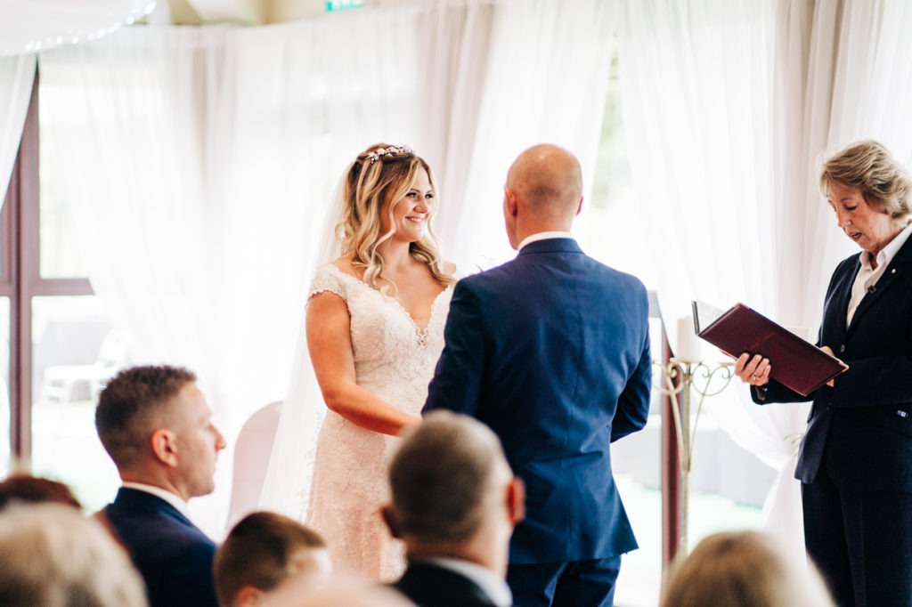 bride and groom ceremony at Weald of Kent