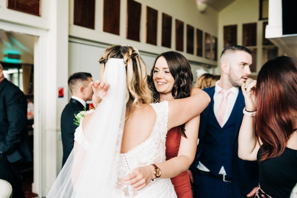 congratulating the bride at Weald of Kent wedding
