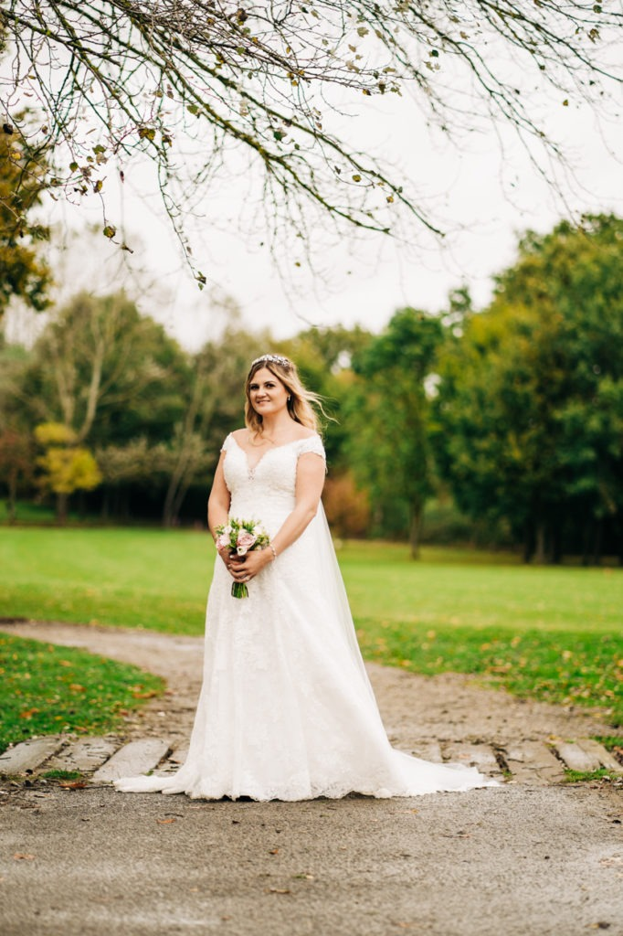 bridal portrait at Weald of Kent wedding Maidstone