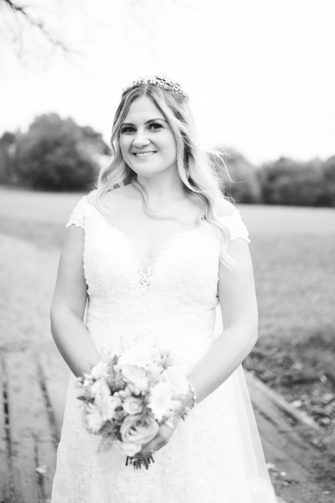 black and white bridal portrait weald of kent wedding
