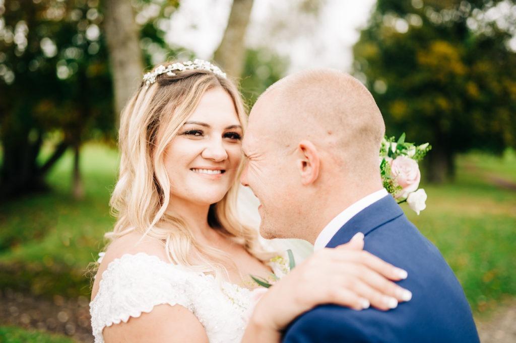 bride and groom portraits at weald of kent wedding