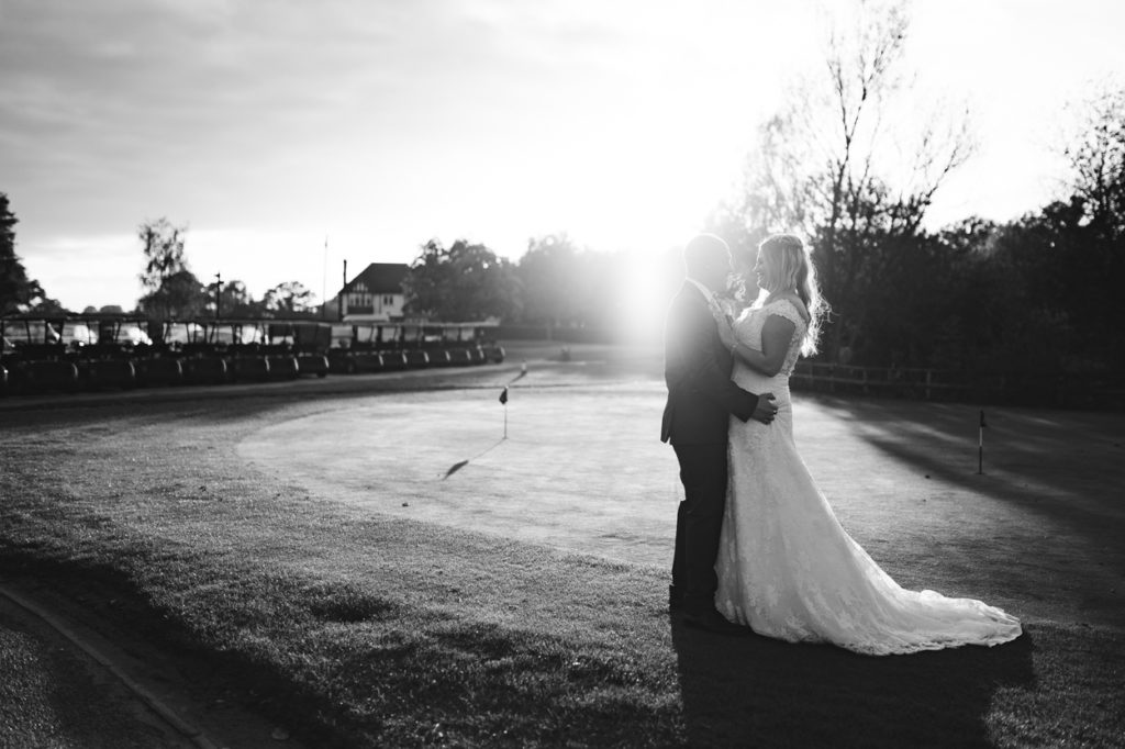 Bride and groom at Weald of Kent golf course wedding