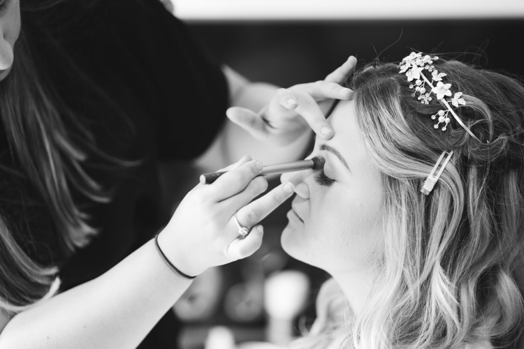 black and white bridal prep photo