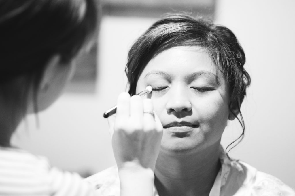 Bridal prep at Ferry House Inn Winter twilight wedding