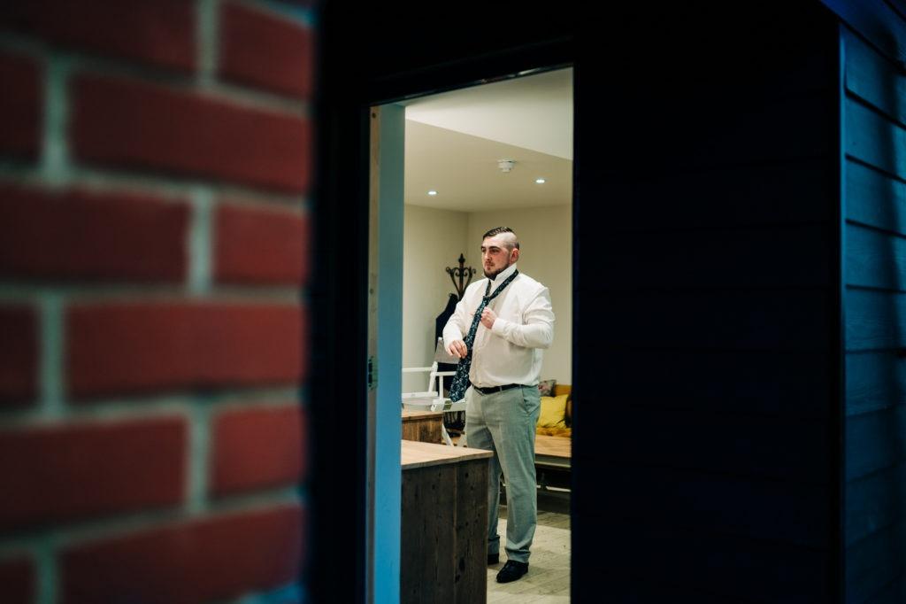 groom prep at Ferry House Inn powder room