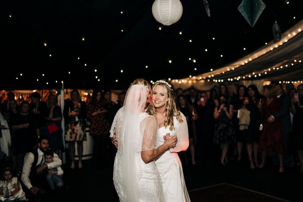 first dance at The Barnyard Upchurch wedding venue