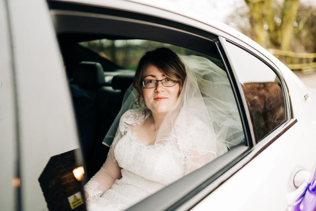 bride arrives at the Barnyard in Upchurch wedding