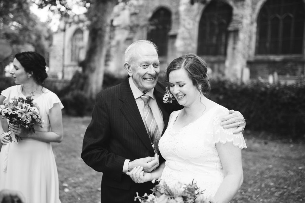 bride and father at archbishops palace