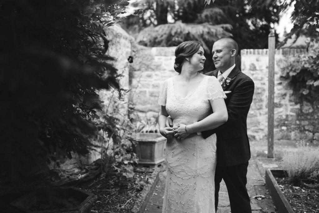 bride and groom at Archbishops palace