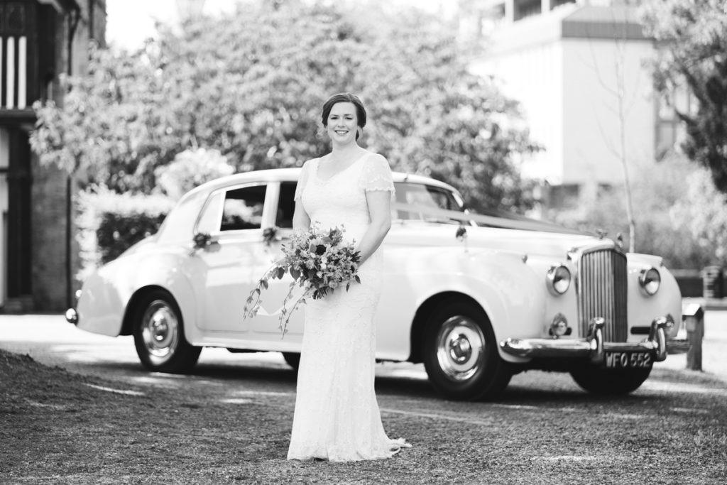 bride and her Bentley Wedding car